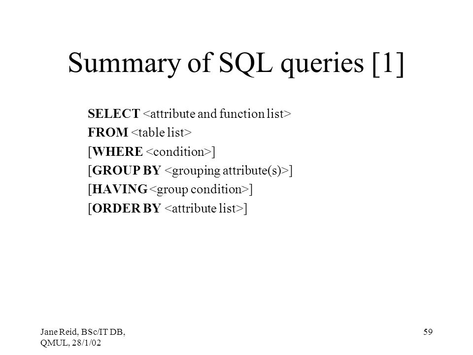 Summary of SQL queries [1]